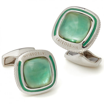 Tateossian Mint Green Cufflinks, Translucent Quartz and Sterling Silver - Cufflinks - Tateossian