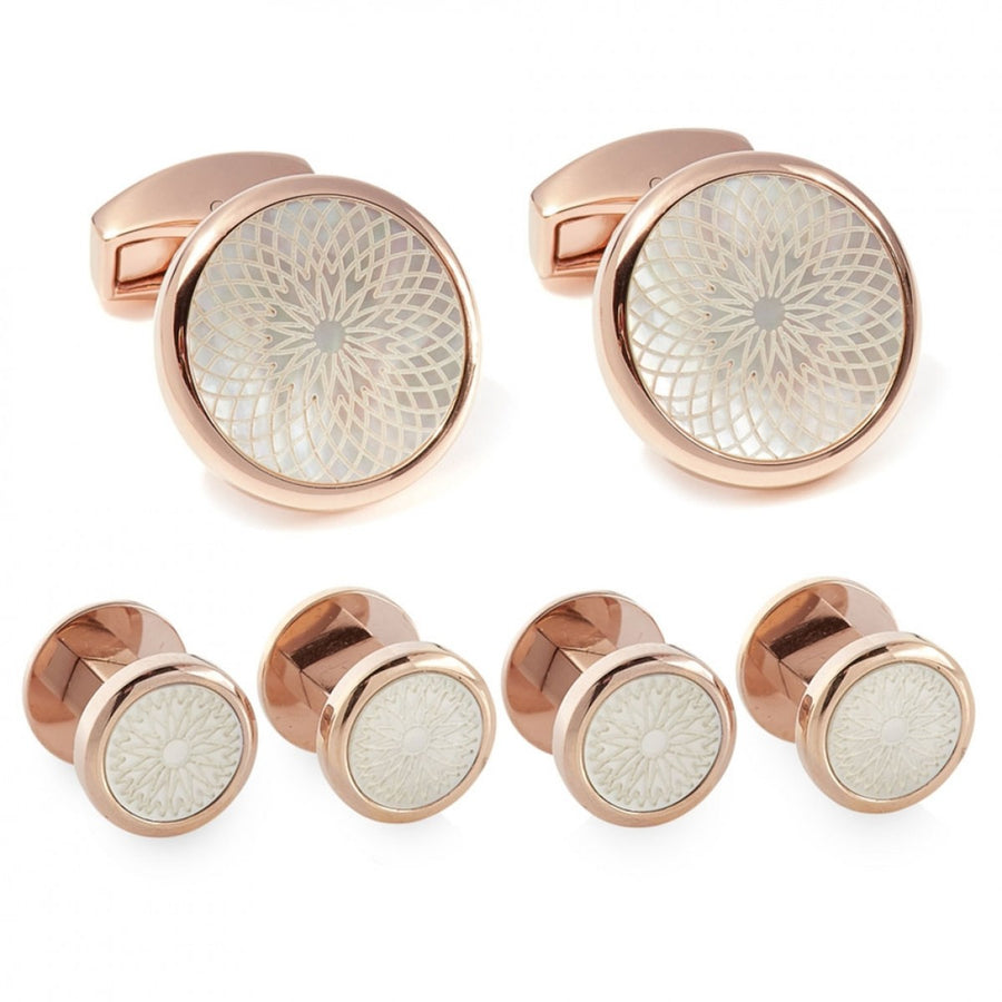 Tateossian Rotondo Guilloche IP Rose Gold Studs and Cufflinks Set, White Mother of Pearl