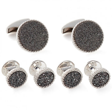 Tateossian Charcoal Druzy Cufflinks and Studs Set, Black - Cufflinks - Tateossian