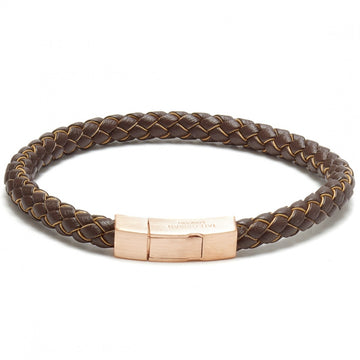 Tateossian Click Tocco Leather with Edge in Metallic Bracelet, Brown