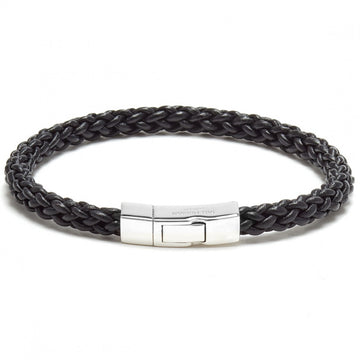 Tateossian Click Trenza Leather Strand Bracelet, Black