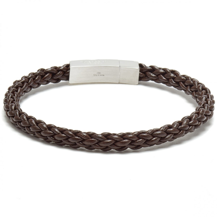 Tateossian Click Trenza Leather Cord Knots Bracelet, Brown