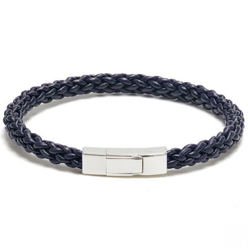 Tateossian Click Trenza Braided Rope Leather Bracelet, Navy