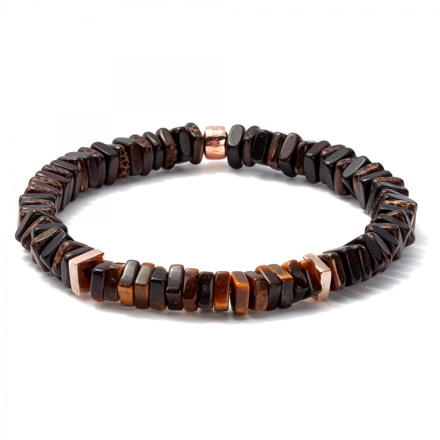 Tateossian Tiger eye and Wood Bead Bracelet Men's Legno Collection