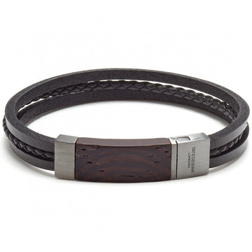 Tateossian Men's Madera Multi Strand Leather with Eboney Wood Inlay Bracelet, Black