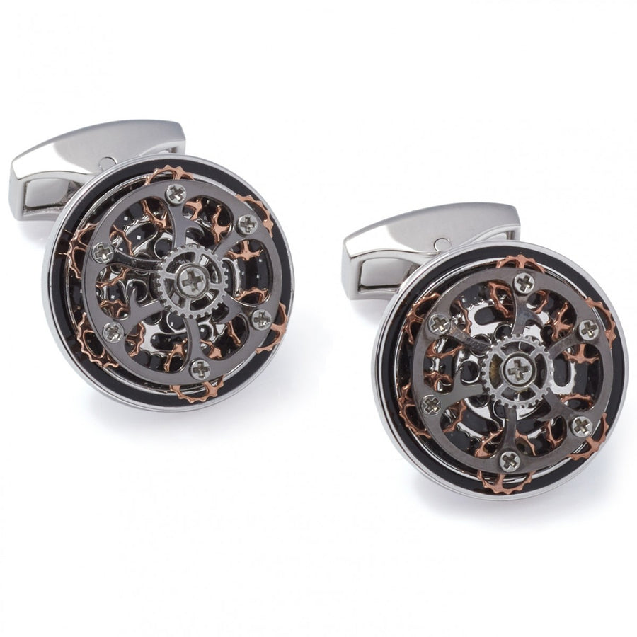 Tateossian Diablo Round Gear Devil Cufflinks, Black