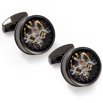 Tateossian Single Tourbillon Watch Movement Cufflinks, Gunmetal and Black Enamel