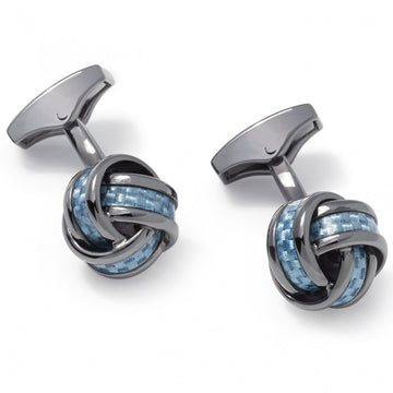 Tateossian Classic Blue Knot Cufflinks, Gun Metal Plated