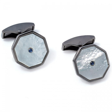 Tateossian Precious London Eye Cufflinks, Black Rhodium
