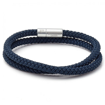 Tateossian Men's Notting Hill, Anodised Double Wrapped Braided Bracelet, Blue