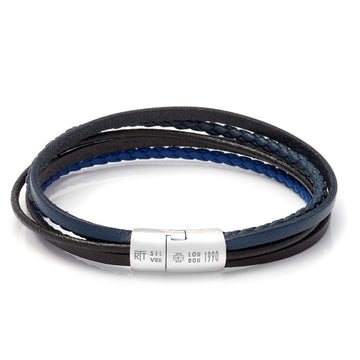 Tateossian Cobra Men's Leather Cord Bracelet, Navy