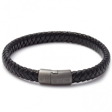 Tateossian Men's Cobra Sontuoso Wide Leather Bracelet, Black