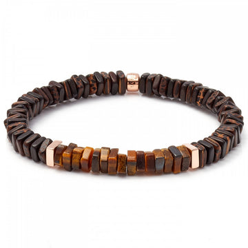 Tateossian Men's Legno Tiger's Eye Square Beads Bracelet, Brown