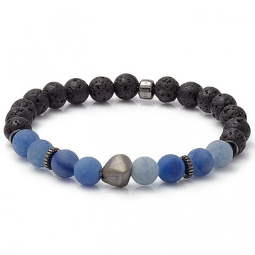 Tateossian Men's Blue Aventurine Beads and Rhodium Plated Sterling Silver Nugget Bracelet