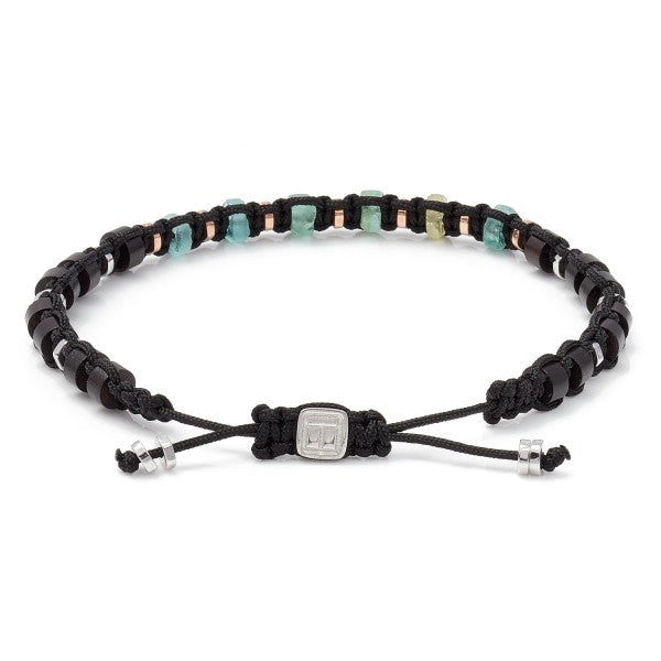 Tateossian Men's Imperial Macrame Beaded Bracelet, Green Roman Glass and Sterling Silver