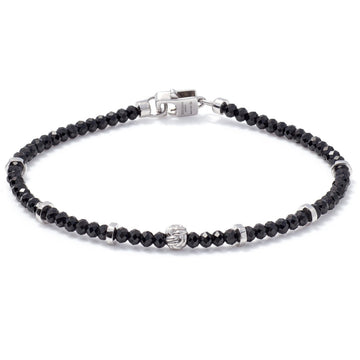 Tateossian Men's Nodo Black Spinel Precious Bracelet With Sterling Silver Accent Beads
