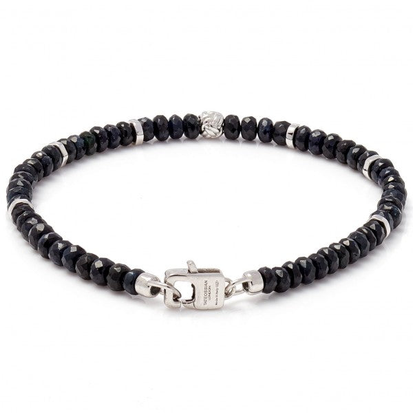 Tateossian Men's Nodo Dark Blue Sapphire Bracelet With Sterling Silver Accent Beads
