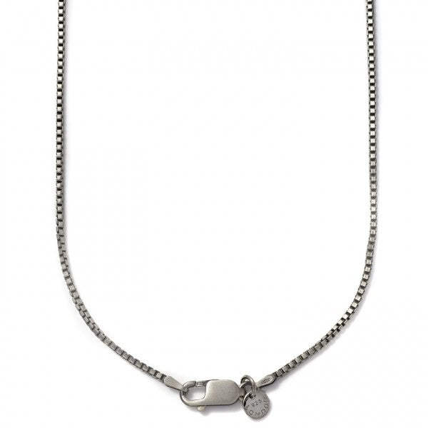 Tateossian Men's Black Box Chain, Oxidized Silver With Gear Clasp, 65 CM Length