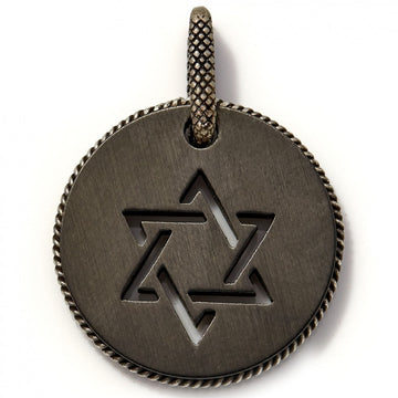 Tateossian Men's Titanium Black Star of David Pendant