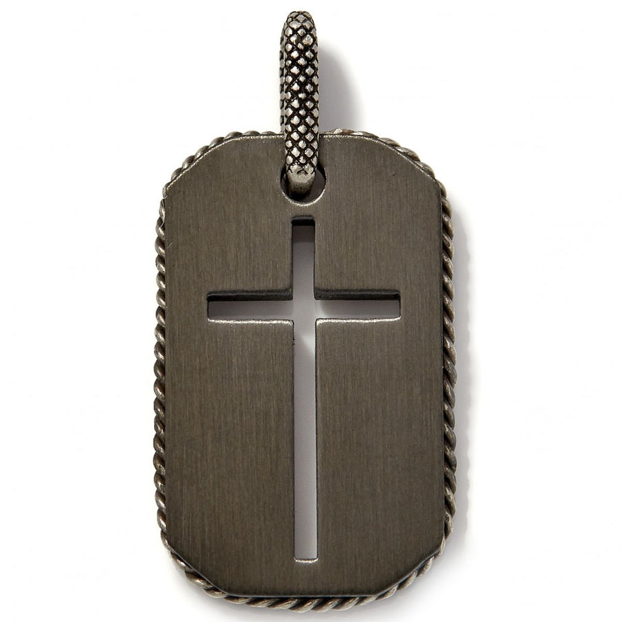 Tateossian Men's Titanium Black Cross Pendant