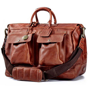 Will Leather Goods Men's Travel Duffle Bag, Cognac