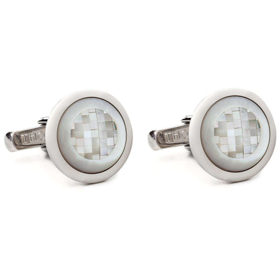 Thompson of London Men's Chequered Square Round Cufflinks, White