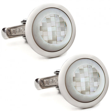 Thompson of London Men's Chequered Square Round Cufflinks, White - Cufflinks - Thompson of London