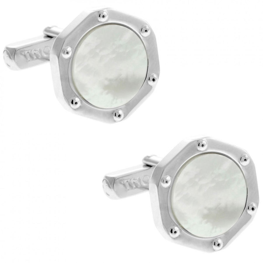 Thompson of London Men's Stone Bolt Hexagon Cufflinks, White