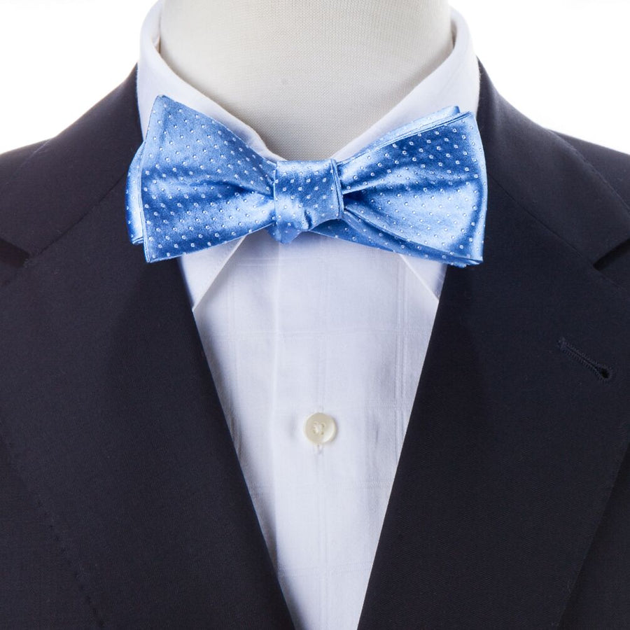 Bruno Piattelli Silk Self-Tie Polka Dot Bow Tie - Light Blue/White