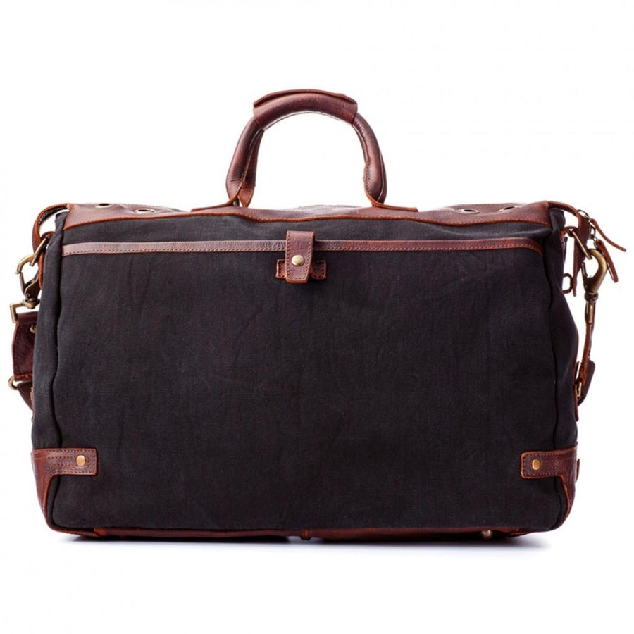 Will Leather Goods Men's Traveler Cotton Canvas Duffle Bag, Brown and Black - Upscaleman