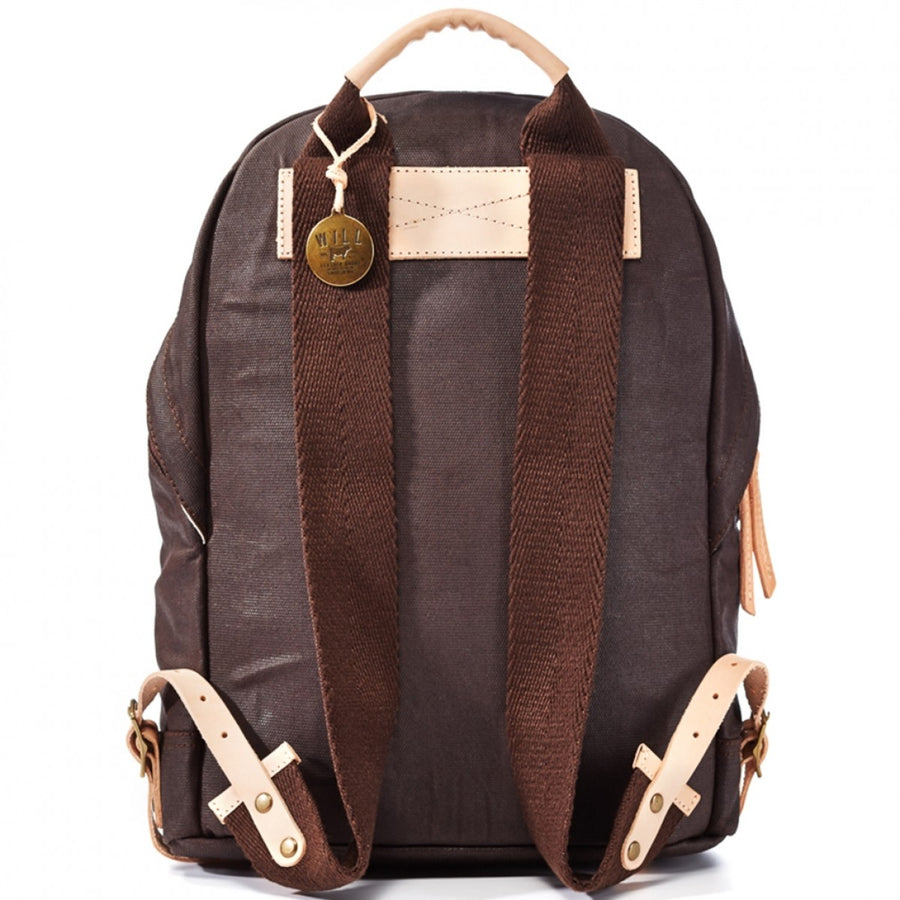 Will Leather Goods Men's Waxed Canvas Dome Backpack, Brown