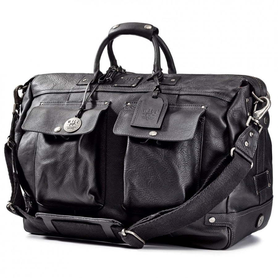 Will Leather Goods Men's Black Leather Duffle Bag