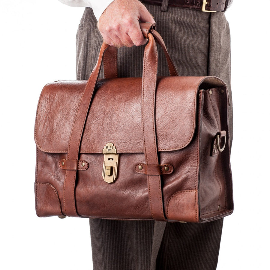Will Leather Goods Men's Everett Satchel Messenger Bag, 15.6 Inches, Cognac and Brown