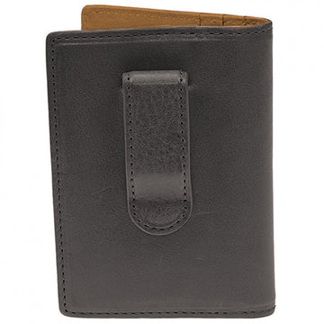 Will Leather Goods Shelby Front Pocket Designer Money Clip with Card Holder, Black
