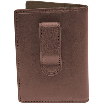 Will Leather Goods Shelby Front Pocket Designer Card Holder and Money Clip, Brown