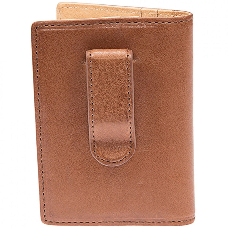 Will Leather Goods Shelby Front Pocket Designer Card Holder Wallet and Money Clip, Cognac