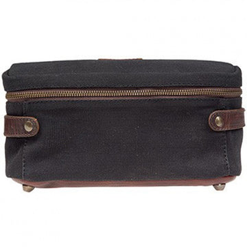 Will Leather Goods Desmond Canvas and Leather Travel Case, Black and Brown