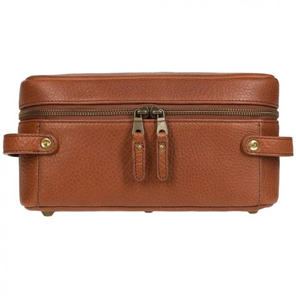 Will Leather Goods Desmond Leather Travel Kit in Cognac Brown