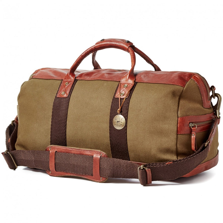 Will Leather Goods Signature Canvas and Leather Bag Collection Atticus Duffle, Tobacco and Saddle