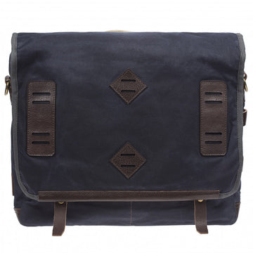 Will Leather Goods Mirror Lake Leather and Canvas Navy Messenger Bag