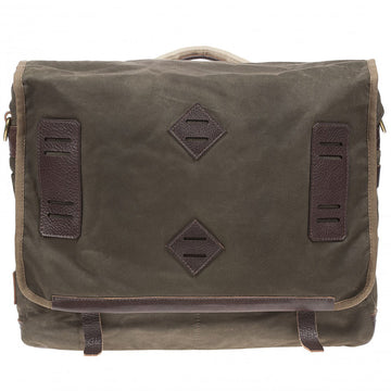 Will Leather Goods Mirror Lake Leather and Canvas Messenger Bag, Olive