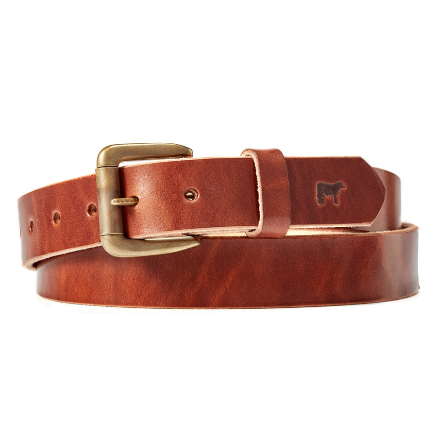 Will Leather Goods Classic Saddle Brown Leather Belt with Brass Roller Buckle