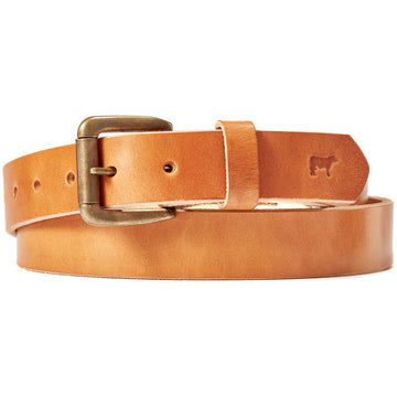 Will Leather Goods Classic Saddle Tan Leather Belt with Brass Roller Buckle