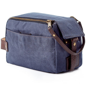 Will Leather Goods Yokum Ridge Small Travel Waxed Canvas Bag, Navy, Bridle Leather Trim