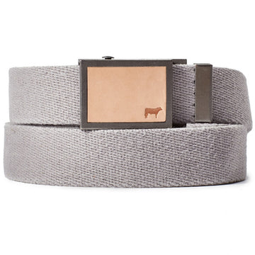 Will Leather Goods Gunner Belt Collection in Cotton Webbing, Grey