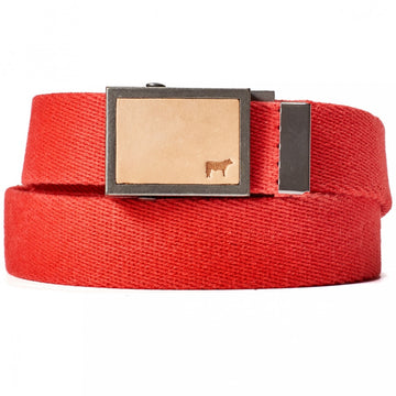 Will Leather Goods Gunner Cotton Webbing Belt, Red