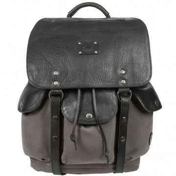 Will Leather Goods Lennon Waxed Canvas and Leather Backpack Bag, Grey and Black