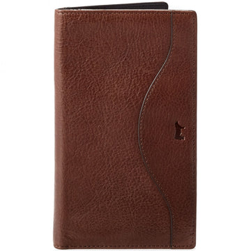Will Leather Goods Italian Calfskin Wallet Collection Horace Secretary with 11 Card Holders, Brown