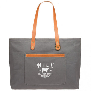 Will Leather Goods 18 Oz Cotton Canvas Tote Bag, Classic Carry All, Grey