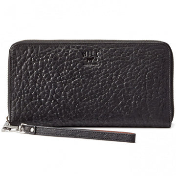 Will Leather Goods Imogen Leather Checkbook Wallet, Italian Lambskin, Black